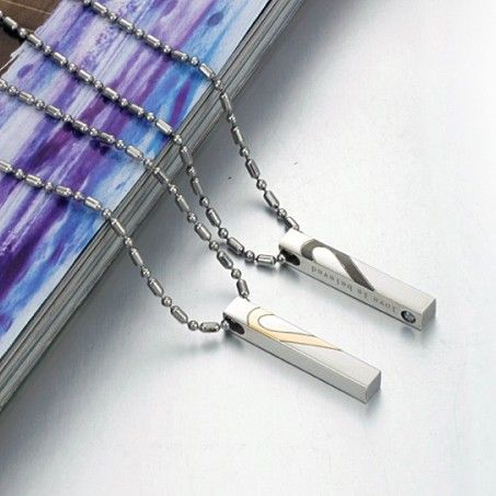 $19,83 Exclusive pair stainless steel pendant + necklace pairing for lovers. Exclusive pairing stainless steel pendant + necklace combination for lovers. BEST PRICE: Directly in the jewelry factory. VAT-free shopping: Available, partners based in the European Union, only applies to EU tax identification number (UID). Exclusive design pairing stainless steel pendant & necklaces for couples and lovers.