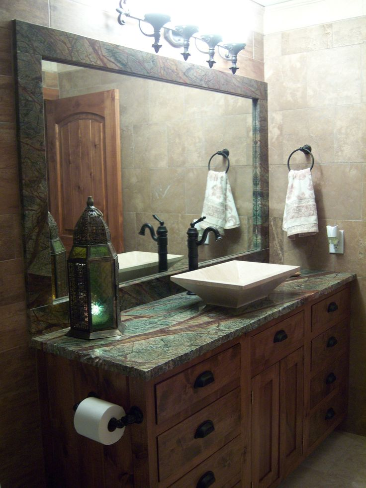 Bathroom design with Rain Forest green granite countertops ...