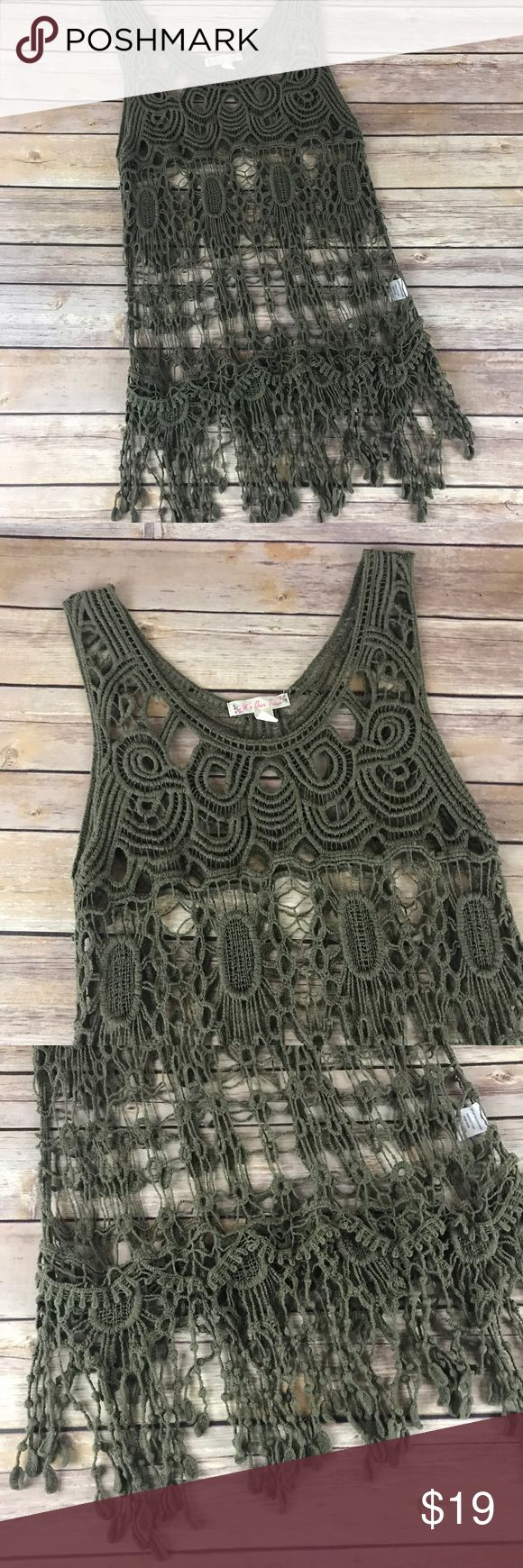 """Crochet Sleeveless Top This crocheted Top would be perfect paired with a white or cream cami and jeans or shorts.  In like new condition.   📐Measurements & Information 📐  Chest Approx 33"""" Length approx 28"""" Cotton Tops Tank Tops"""