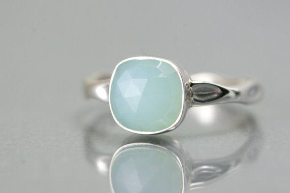 Lunette de calcédoine Aqua Ring - anneau de coupe coussin - Réglez bague - bague en argent Sterling