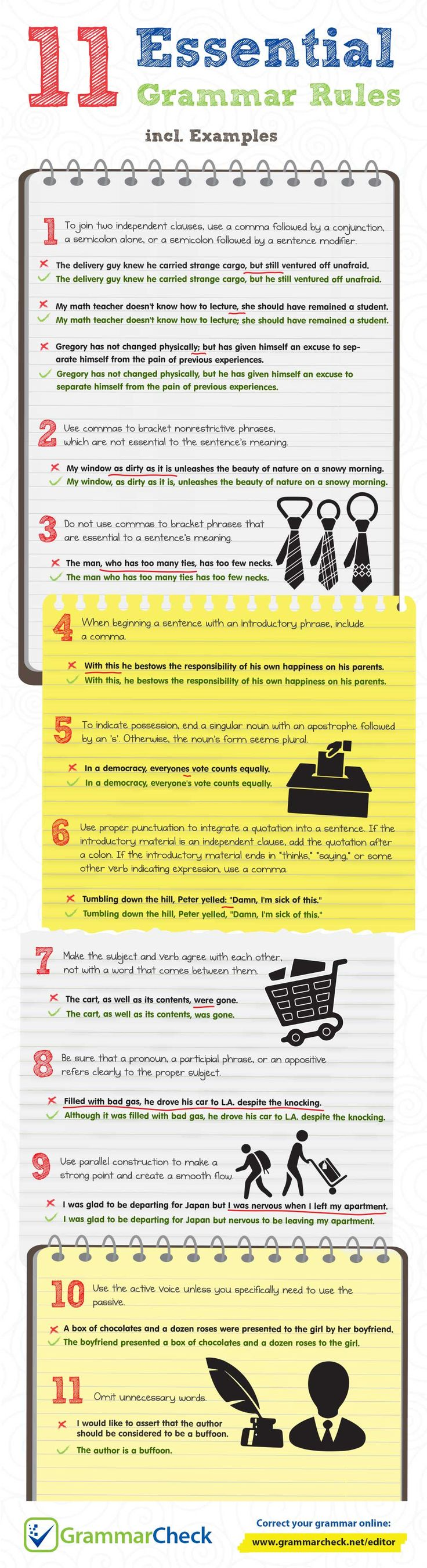 best grammar check infographics images english  11 essential grammar rules