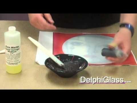 How to Paint with Glass Frit - Delphi instructor Jeannette Woodard demonstrates how to mix powder frit with liquid stringer to create a paint-like solution that can be used to draw designs on plates or other fused projects.