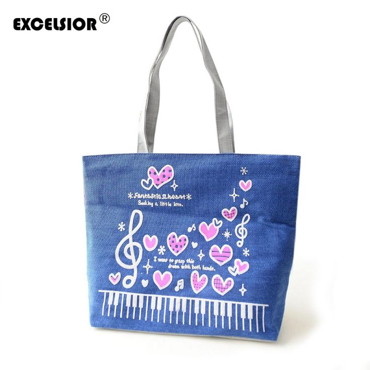 EXCELSIOR Women Handbag Music Print Canvas Beach Bags Shopping Soft Sling Shoulder Bag Female Tote Purse Foldable Sac A Main