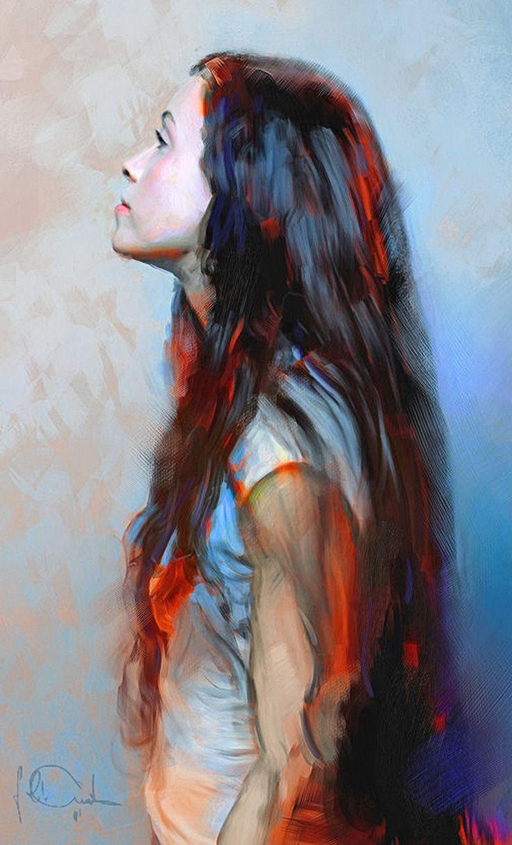 """Alanis"" - Miki Petur {figurative art female profile standing woman cropped digital painting} mikipetur.com"