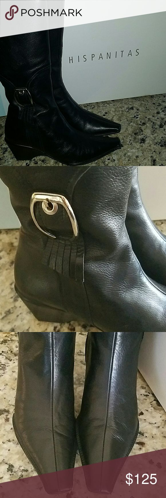 HISPANITAS tall black boot Excellent condition, like new, Euro 37,  US 7, these are narrow size boots, side zip, wedge heel, 17 inches tall, soft all leather. Beautiful Boot. HISPANITAS  Shoes Heeled Boots