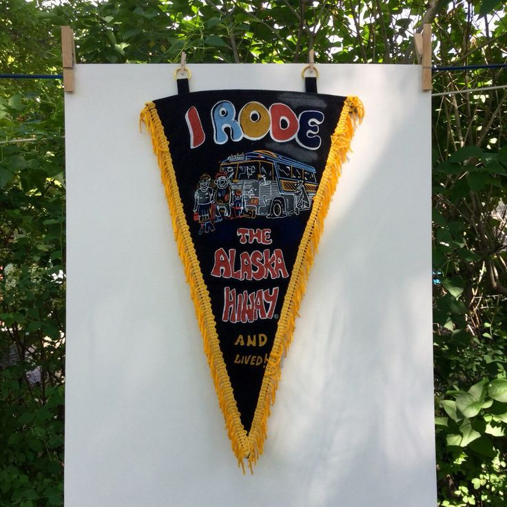 Alaska Highwaysouvenir  pennant Humorous hippies 50s/60s painted black velvet and goldenrod yellow fringe... road trip bus souvenir banner by VeryUsVintage on Etsy https://www.etsy.com/ca/listing/385866812/alaska-highwaysouvenir-pennant-humorous