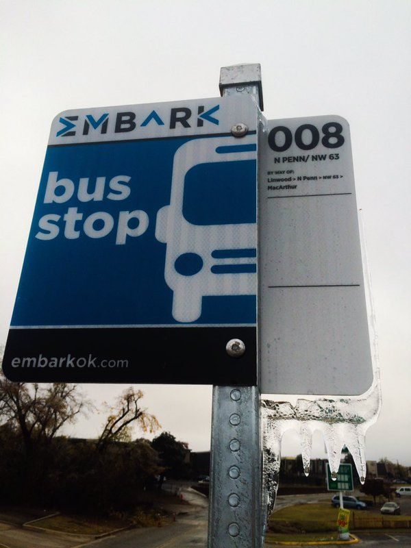 Melting ice from this weekend's storm #OKC  @EmbarkOK bus service   via @louisamqn
