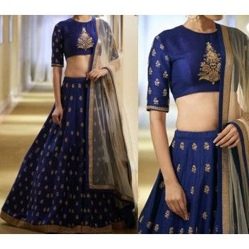 Banglori Silk Machine Work Blue Semi Stitched Lehenga - 6070