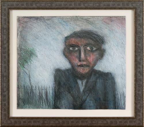 Young Man in Park by Arthur Berry. Mixed media. Sold 2012.