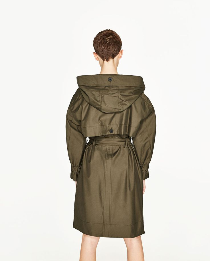 Image 4 of LONG TRENCH COAT WITH HOOD from Zara