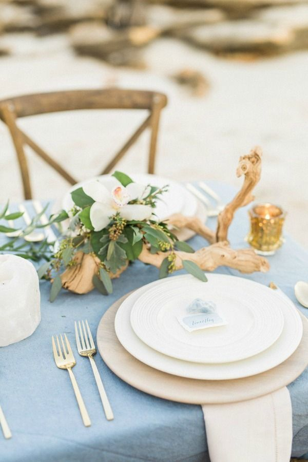 Beach Wedding Tablescape Elegant Mermaid Inspiration Bri Cibene Photography