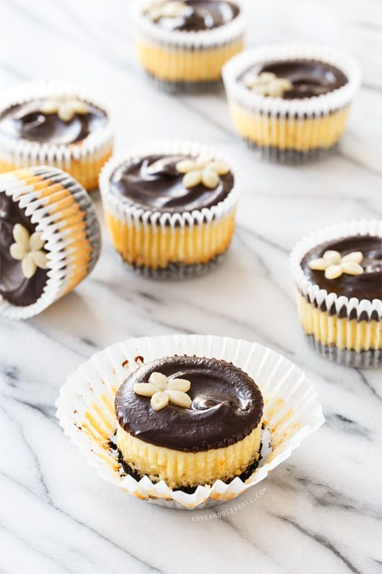 Things just taste better when they are mini... like these Marzipan Mini Cheesecakes with chocolate chocolate ganache glaze.
