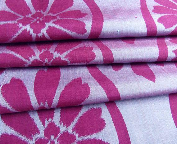 Japanese Kimono Fabric - Large Purple Blossoms on Lilac  :: Meisen Silk  :: Ikat