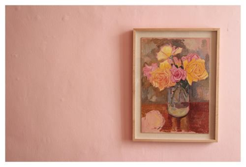 Francois Krige | Still Life with Roses', unfinished |  Oil on Masonite Board | 54 x 37,5 cm