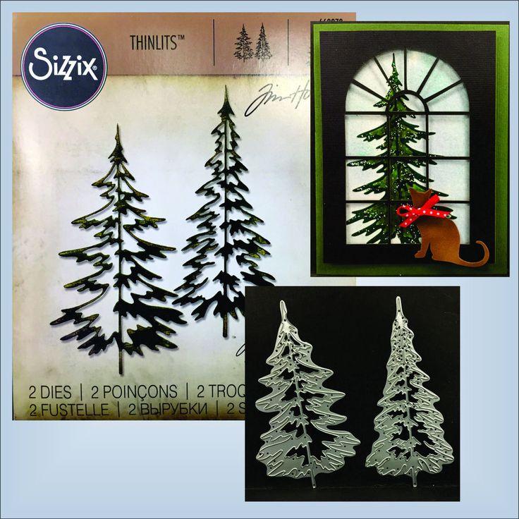 Pine Trees dies - Sizzix Thinlits Die Set 2PK - WOODLANDS  660978 Tim Holtz #Sizzix