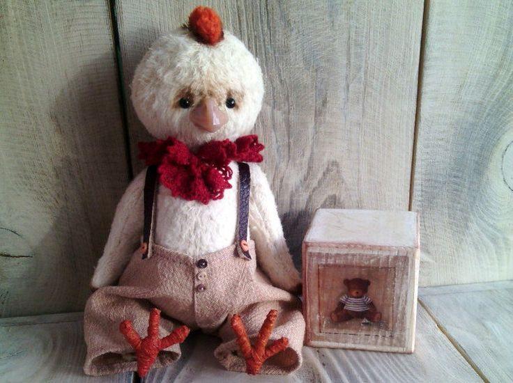 Little Cock Artist Handmade Viscose Teddy by ToysAndBags on Etsy