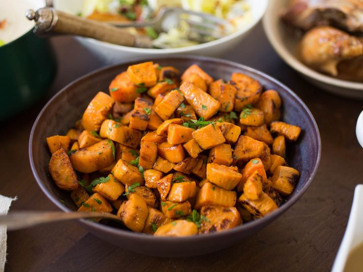 Sweet potatoes are already sweet—so much is obvious from the name—so why is it that so many Thanksgiving recipes for them are packed with sugar and covered with marshmallow toppings? A well-thought-out dish featuring well-cooked sweet potatoes actually needs very little, if any, additional sugar to be satisfying. Here are eight of our favorite sweet potato sides, both the mildly sweet and the unabashedly savory.