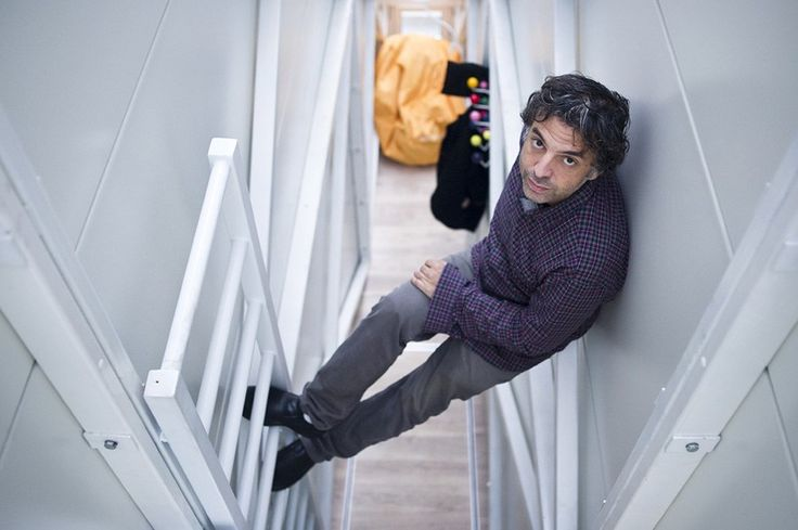 To reach the second floor of Keret House where the bed and 90-centimetre desk are located one has to climb a ladder, photo: Bartek Warzecha