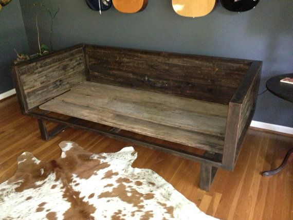 Recycled Barn Wood And Steel Daybed Sofa Living Room