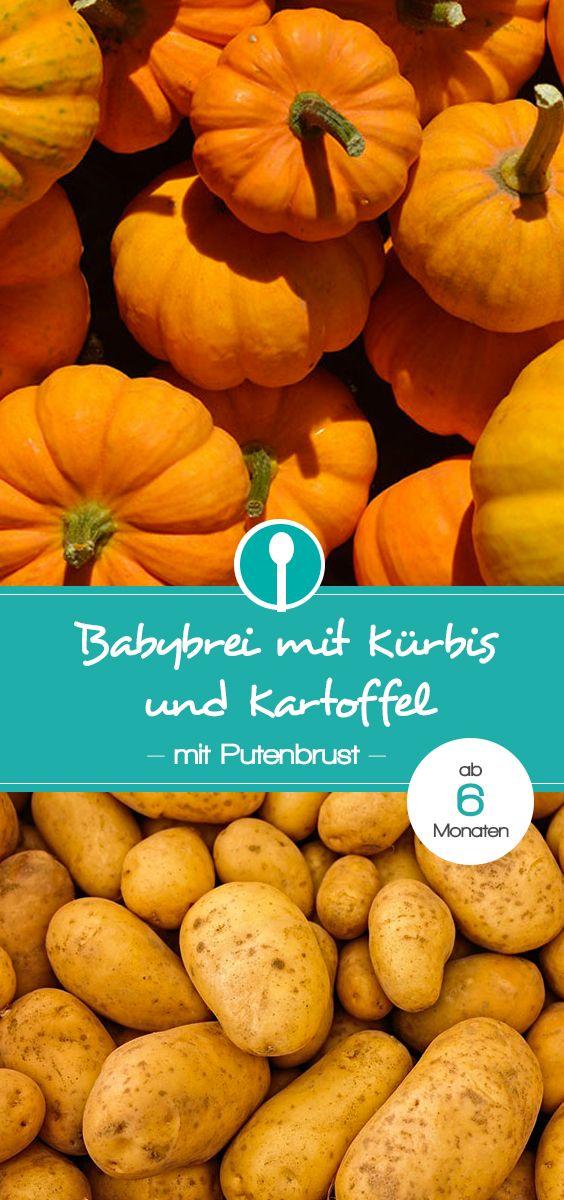 Babybrei mit Kürbis, Putenbrust und Kartoffel. Der farbenfrohe Mittagsbrei ist für Babys ab 6 Monaten geeignet.