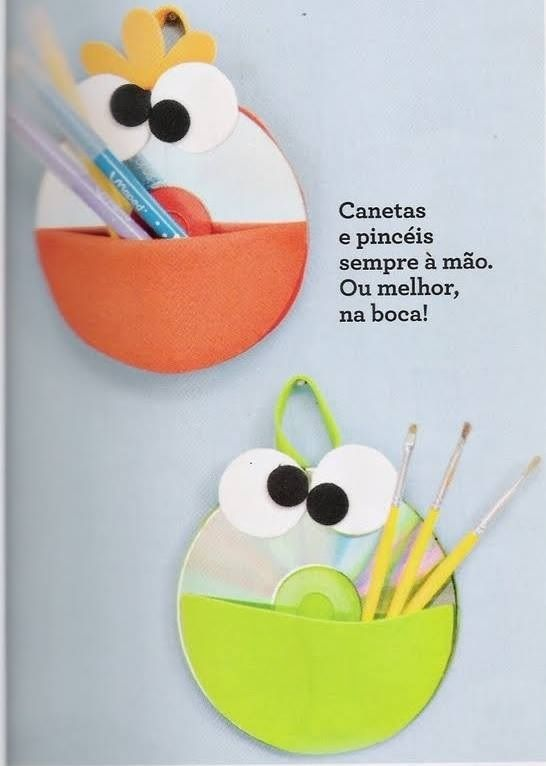 Bichinhos feitos com CD's reciclados  https://www.facebook.com/pages/Chiquinha-Artesanato/345067182280566