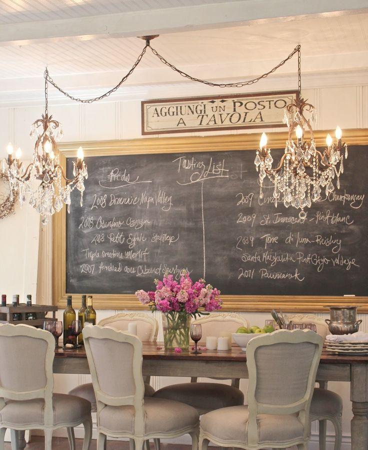 Симпатичная идея для кухни: грифельная доска для записок. Обратите внимание на две одинаковых люстры над столом