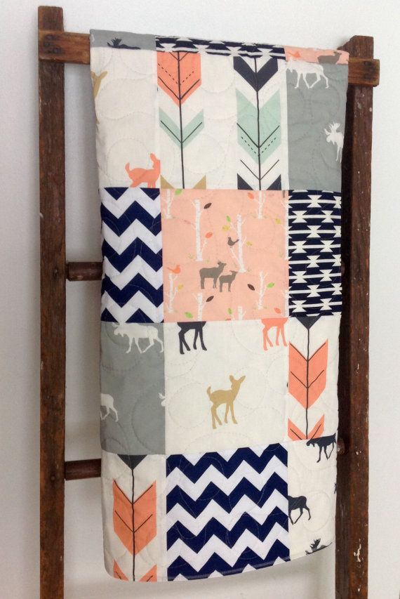Baby Quilt Girl Moose Bow and Arrow Fawn Woodland by CoolSpool