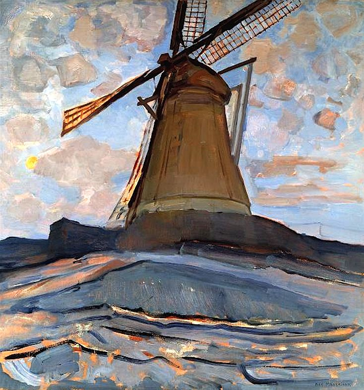 Windmill, 1917  Piet Mondrian  Wow, this is not what I think of when I think of Mondrian. Fabulous