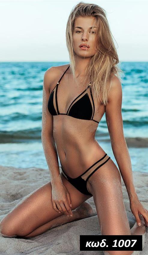 Κωδικός AD1007, Υλικό Spandex Lycra, Χρώμα Μαύρο, Black Color, Bikini Set, Μπικίνι, Δεσίματα, Διαφάνειες, See Through, Slides, Trasparent, Sexy, Summer Trend