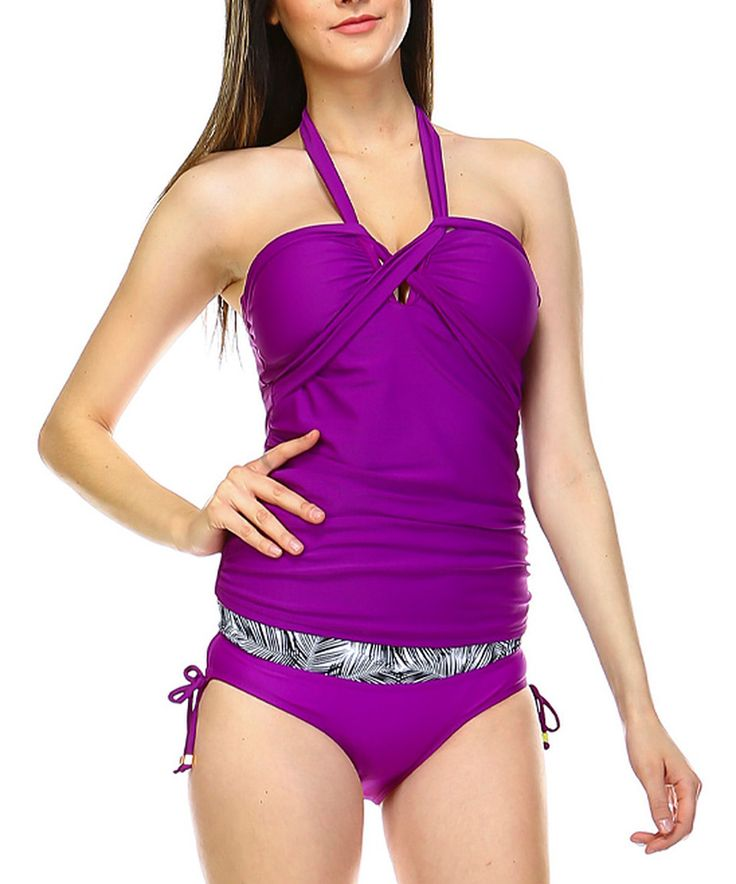 Take a look at this Purple Halter Tankini Top & Bottoms today!
