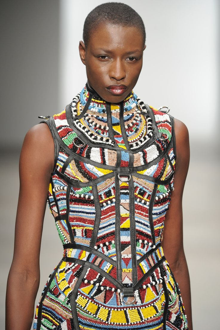 Maasaï Punk in London . Kokon To Zai (KTZ) http://www.pinterest.com/wywoodandwovens/international-fashion/ #African #fashion #Maasai #beads #corset