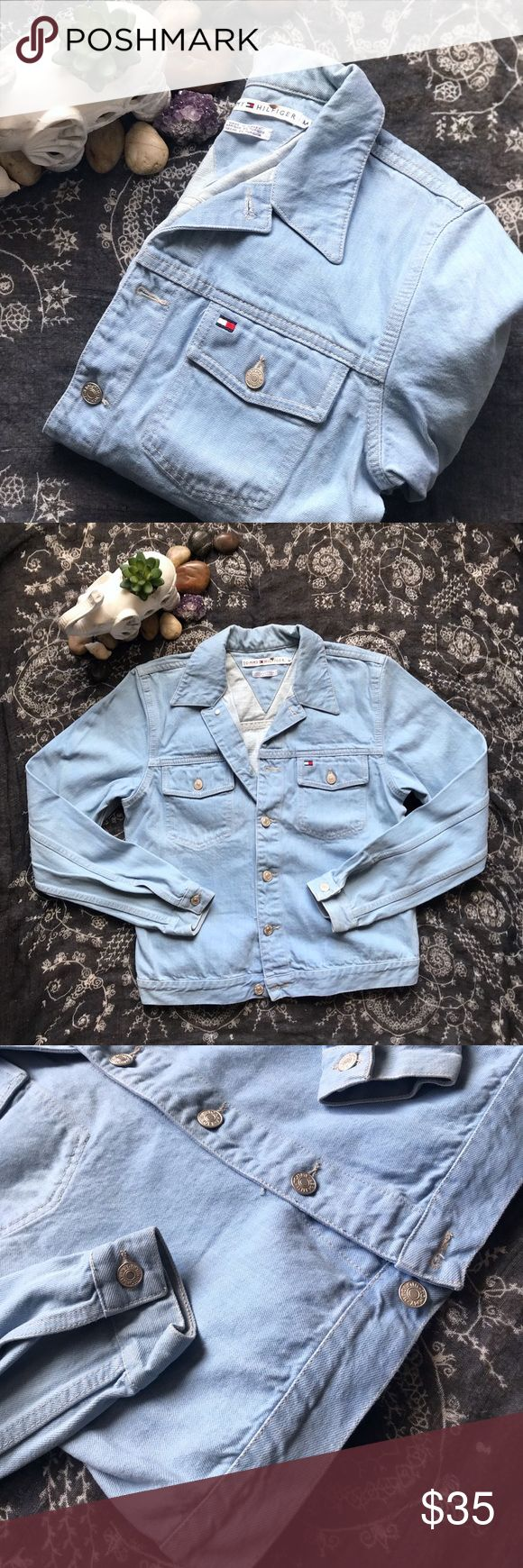 "Tommy Hilfiger-Oversized Light Blue Denim Jacket- Super cute to add to your wardrobe, looks perfect to throw on with a cute spring dress! 🌻 In great condition, a 3 light spots on back, on neck area. See pictures please!  Ask any questions if you need :)  Size: Medium  Measurements:  Arm Length: 24"" Body Length: 21"" Neckline: 5"" across (Buttoned) Bust: 37"" around (Buttoned) Bottom: 35"" Waist: 37"" around (Buttoned)  Love this? Bundle now w/ 10% off 2 or more items!! 💕 Tommy Hilfiger Jackets…"