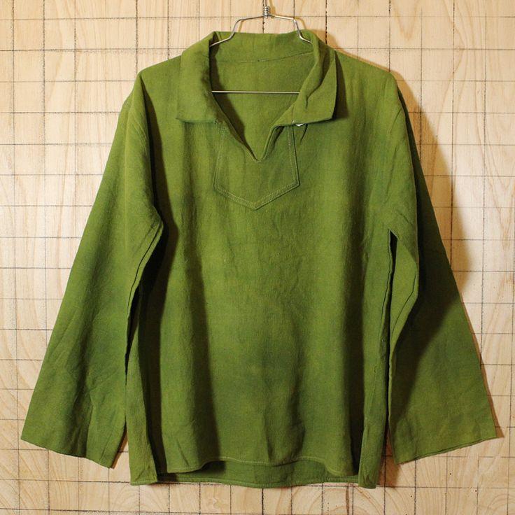 USA製古着無地グリーン開襟コットンシャツ・ヘビーネルシャツ メンズM相当