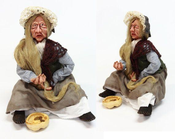 BEGGAR OLD WOMAN doll ooak doll handmade art by LalkowniaDolls