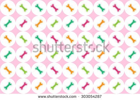 Cute pink vector with purple, green and orange bones for backgrounds, cards, wrapping paper and any other graphic.