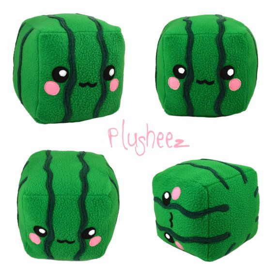 ♥ ITEM DESCRIPTION ♥ This listing is for 1 Square Watermelon plushee, the one in the pictures. Measurements : Height - 14 cm (5.5 inch) Width - 14 cm (5.5 inch) Length (face to bottom) - 17 cm (6.6 inch) This Square Watermelon plushie is made entirely out of soft anti-pill fleece fabric (