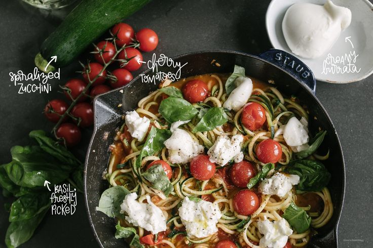 Burrata and tomato #Zoodles by I am a Food Blog, #MadeinStaub Fry Pan