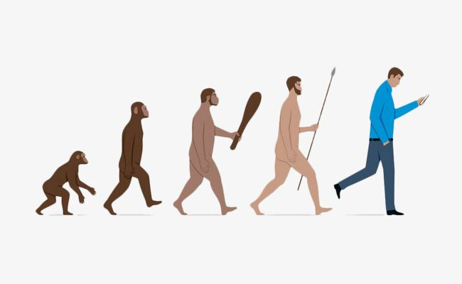 Hand Painted Human Evolution Hand Phone Mobile Phone Png