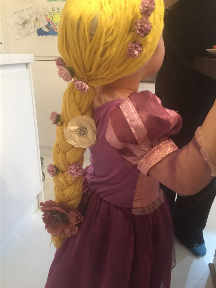 Homemade Rapunzel wig. Wool & old pair of tights.