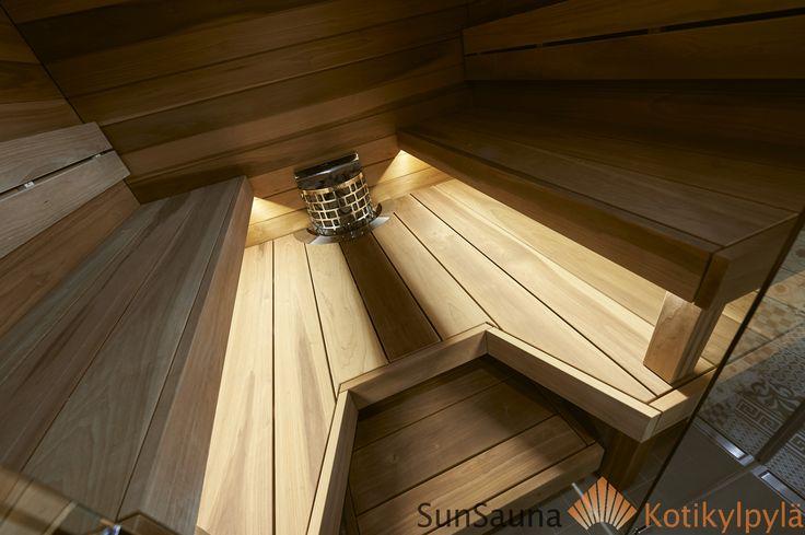 Sauna, Asuntomessut 2016, Sun Sauna Relax -mallisto, lasiseinä, Sauna benches, bastulave
