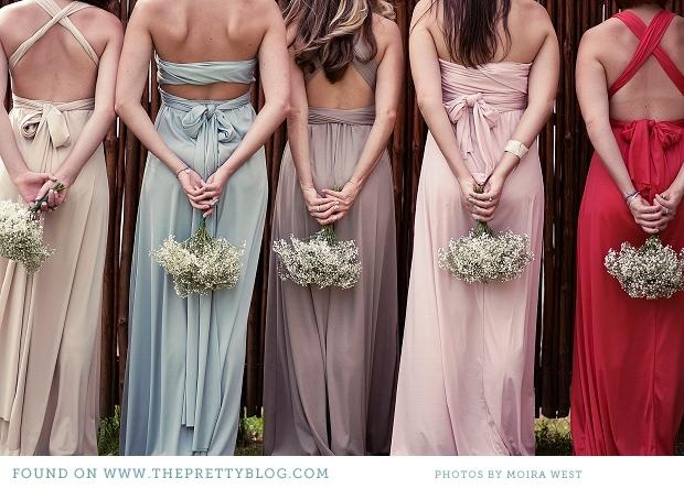 Romantic bridesmaids gowns with interchangeable backs