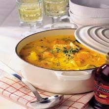 Saffron flavored fish soup with salmon and cod (swedish recipe)