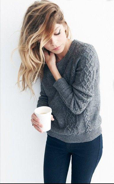 sweater.: Outfits, Hair Colors, Style, Haircolor, Fall Sweaters, Grey Sweaters, Cozy Sweaters, Knits Sweaters, Cable Knits