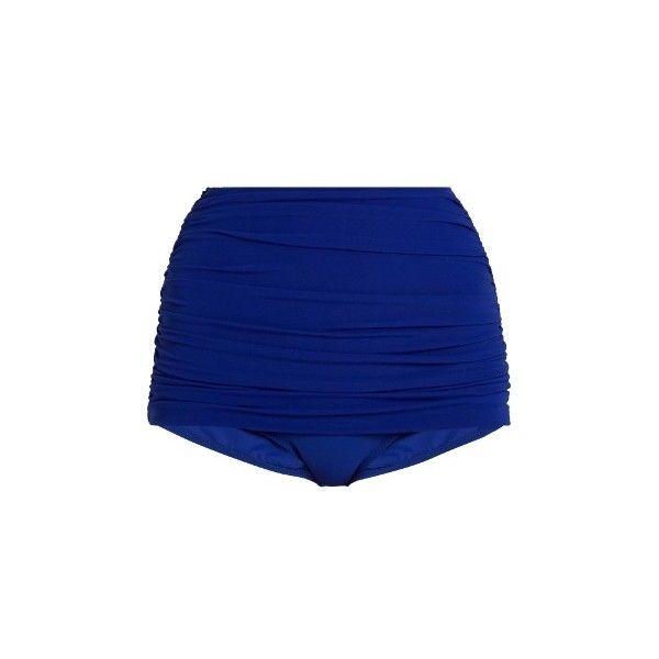 Norma Kamali Bill high-rise bikini briefs (3.230 ARS) ❤ liked on Polyvore featuring swimwear, bikinis, bikini bottoms, blue, bottom bikini, blue bikini top, high-waisted bikinis, retro swimwear and swim suit tops