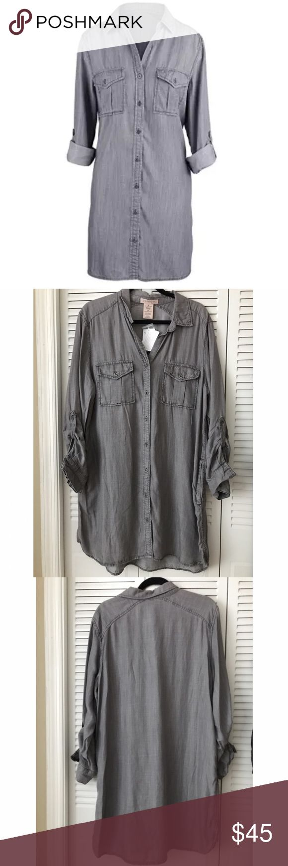 """Philosophy Women Tencel Tunic Denim Shirt Dress XL Philosophy Womens Tencel Tunic Denim Shirt Dress Size XL, $88 100% Tencel/LyocellGentle Wash or Dry CleanPhilosophy Brand """"Tunic Dress"""" - Grey - XL - 100% Tencel/LyocellSeven Button """"Denim Texture"""" Shirt Tunic/Dress Worn as a Dress or TunicWear this Beautiful Garment With or Without a BeltButton Chest Pockets With Flaps, Hip Level Side-PocketsAdjustable Sleeve Lengths. Gentle Wash or Dry Clean.                 No PayPal, trades or…"""