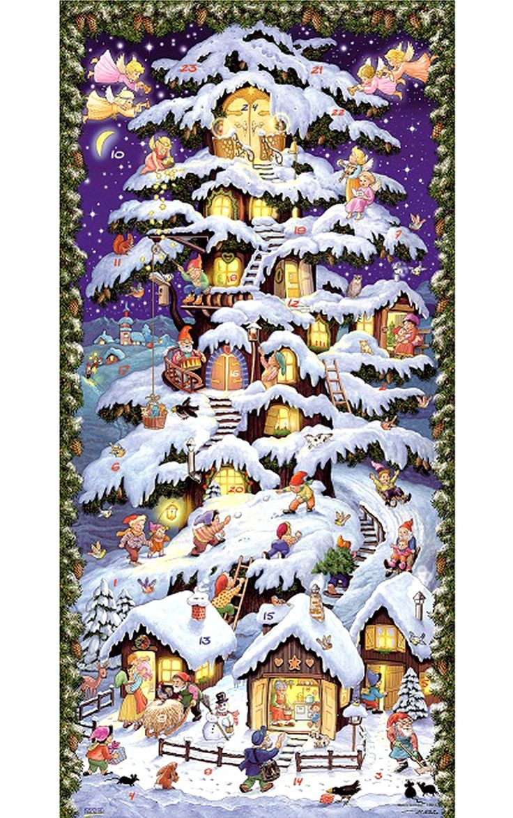 "Tree Tower / House - Advent Calendar 23.75""H x 11.5""W"