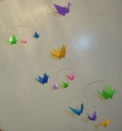 bright hanging origami mobile