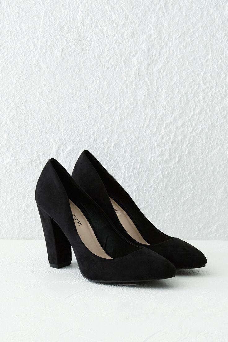 Shoes | Black Chunky Heel Court Shoe | Warehouse