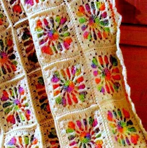 INSTANT DOWNLOAD PDF Vintage Crochet Pattern for Granny Squares Tropical Windows Afghan Throw Blanket  Retro