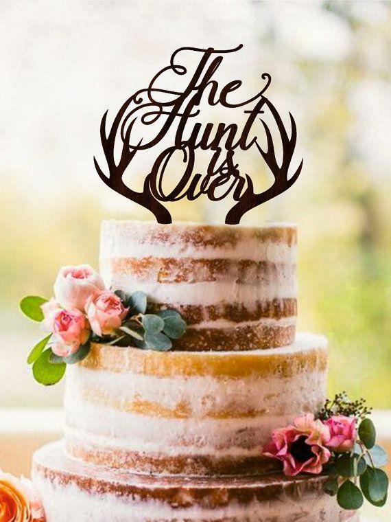 The Hunt Is Over Cake Topper Deer Wedding Cake Topper